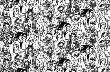 Happy fashion people in large group. Seamless pattern. black and white vector illustration clip art vector