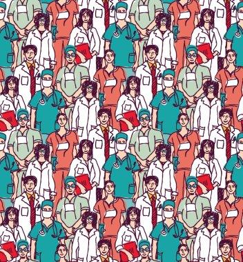 doctors seamless pattern