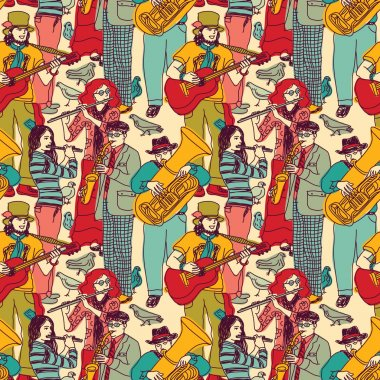 Orchestra band seamless pattern