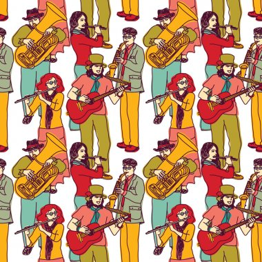 Wallpaper with crowd musicians