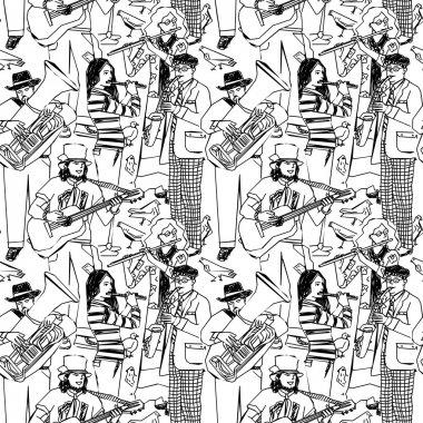 street musicians and birds