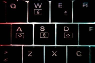 Backlit keyboard detail illuminated in the dark
