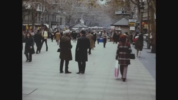 BARCELONA, SPAIN OCTOBER 1973: Barcelona street view in 70s