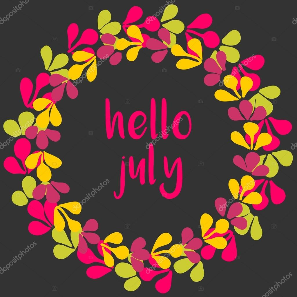 Lovely Hello July Vector Wreath Sunny Yellow, Green And Pink Card On Black  Background U2014 Stock