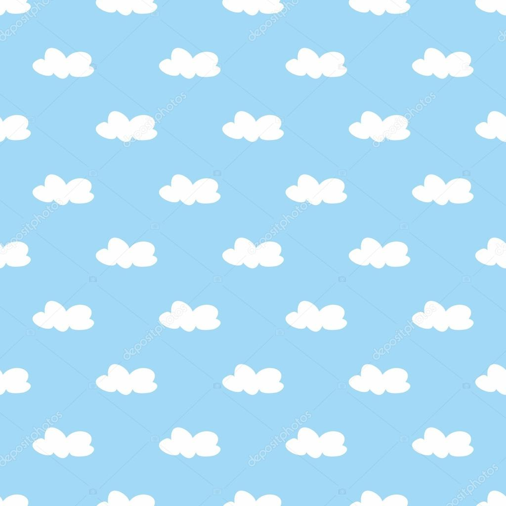 Tile vector pattern with white clouds on blue sky background