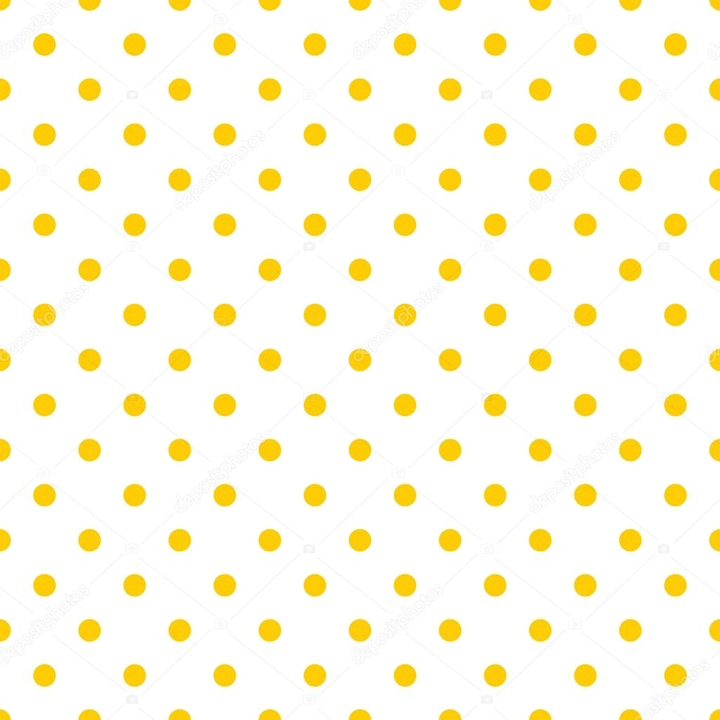 tile vector pattern with yellow polka dots on white background stock vector
