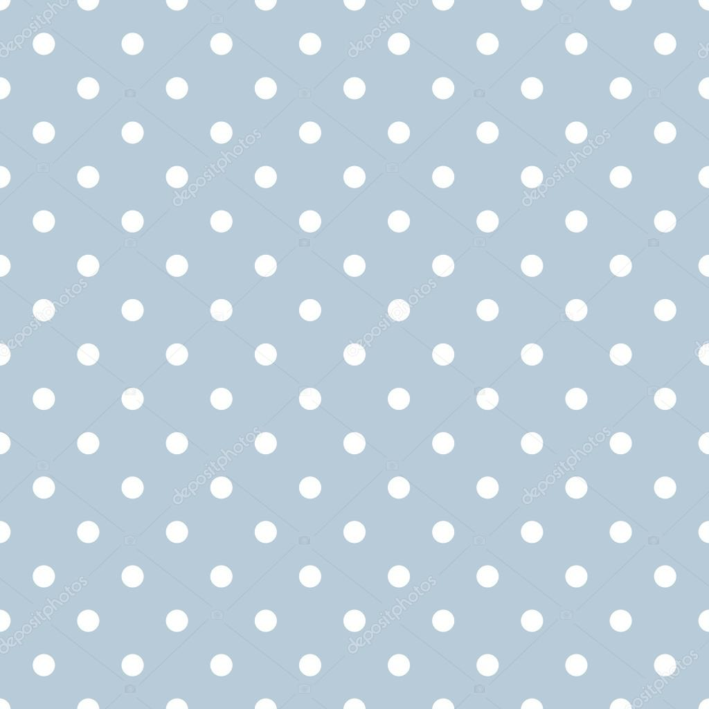 Tile vector pattern with white polka dots on blue background — Stock ...