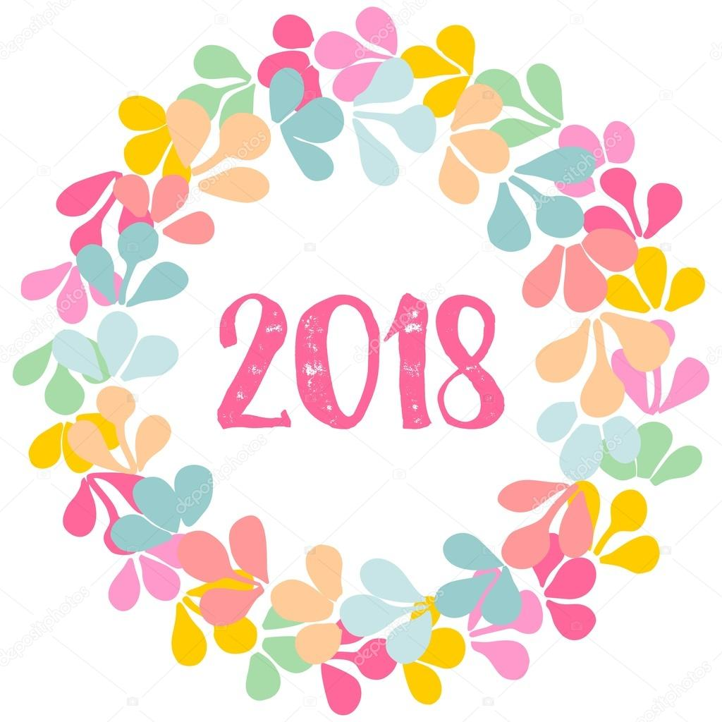 pastel laurel vector floral wreath new year 2018 frame isolated on white background stock vector