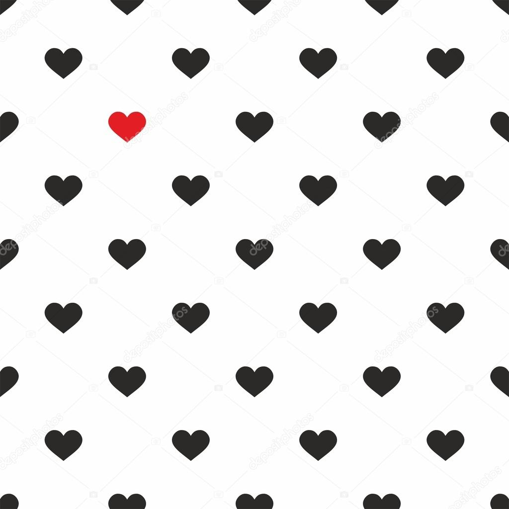 Tile Cute Pattern With Pink And Black Hearts On White Background