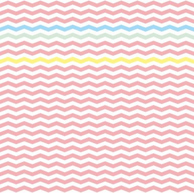 Chevron zig zag tile vector pattern or seamless pink, yellow, green and blue background.