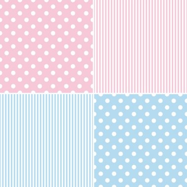 Tile vector pattern set with white polka dots and strips on pink and blue background