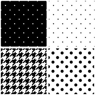 Seamless black and white vector pattern or tile background set with polka dots and houndstooth print