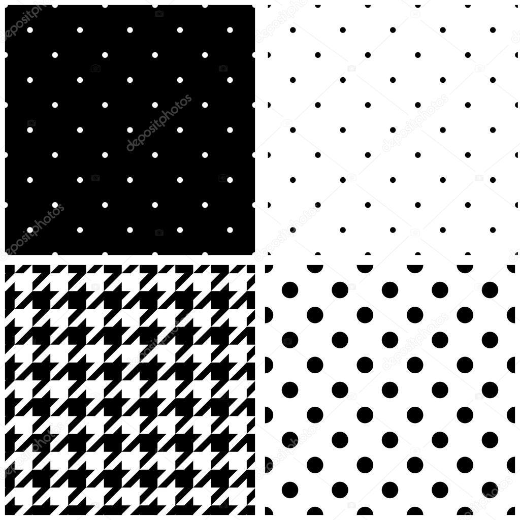 Smidig svart och vektor mönster eller kakel bakgrund med stora och små  prickar och houndstooth tartan — Vektor av mala-ma 7bdaf91de305a