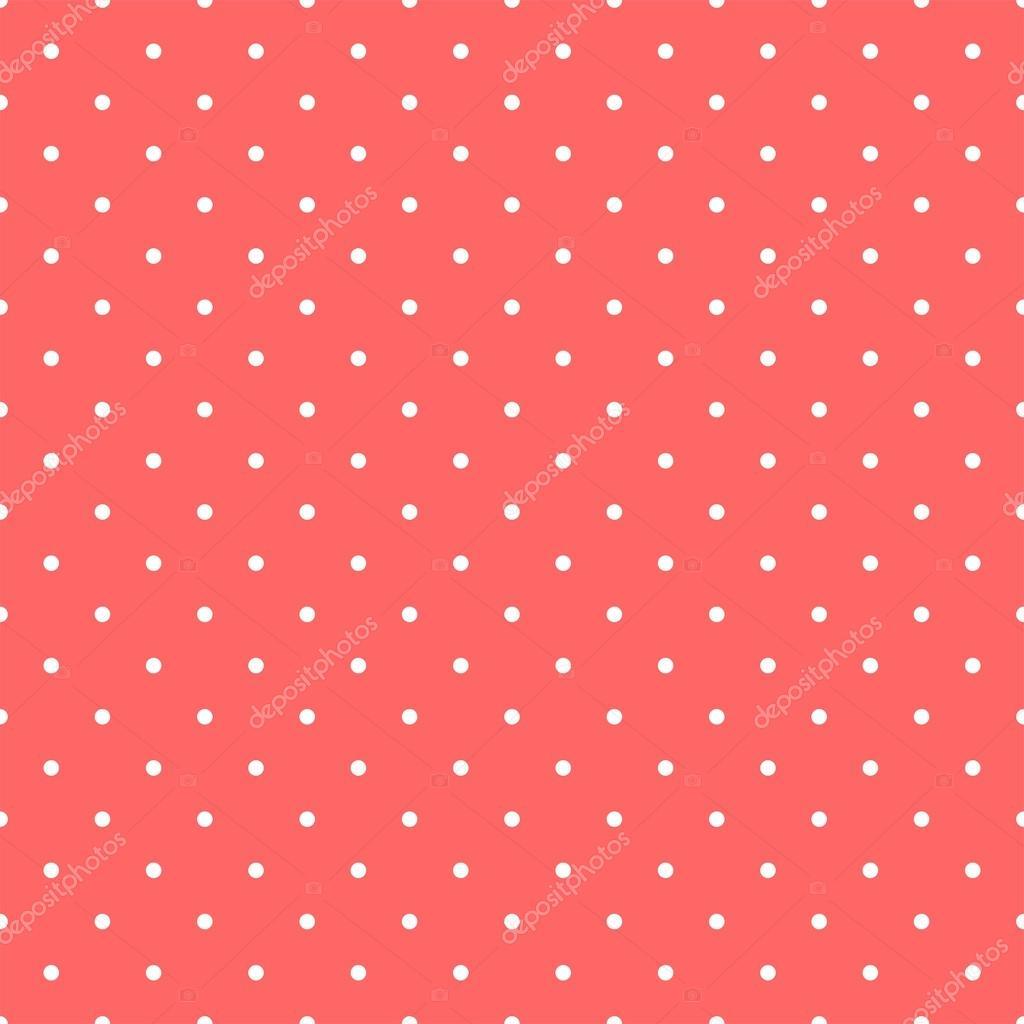 Sfondo Rosso Pastello Reticolo Di Vettore Con Piccoli Pois Bianchi