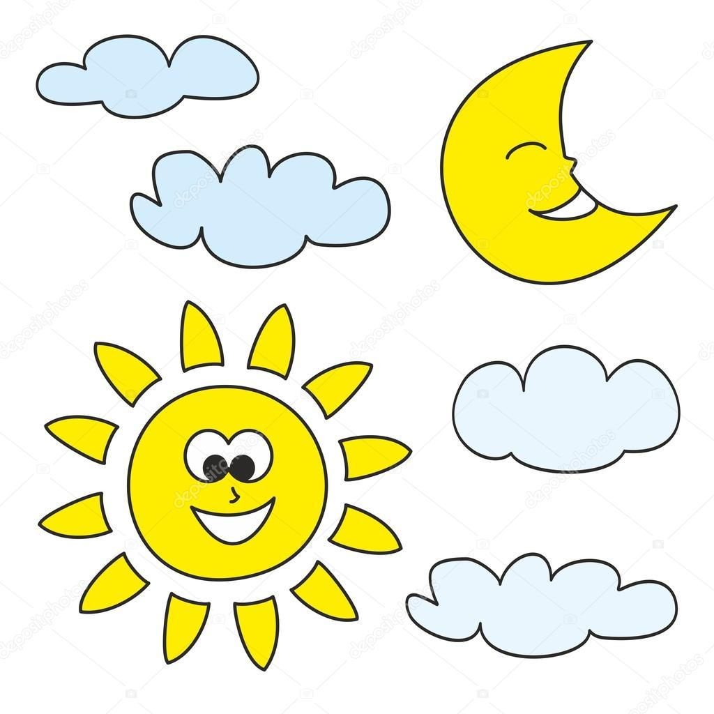 El Sol Luna Y Nubes Conjunto De Iconos De Vector Dibujado Tiempo