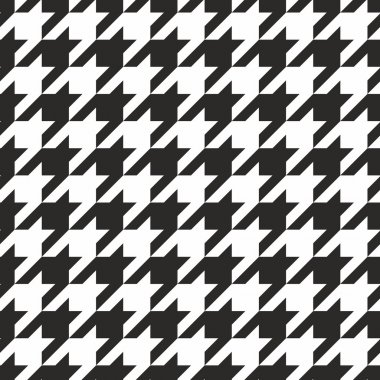 Houndstooth tile black and white vector pattern