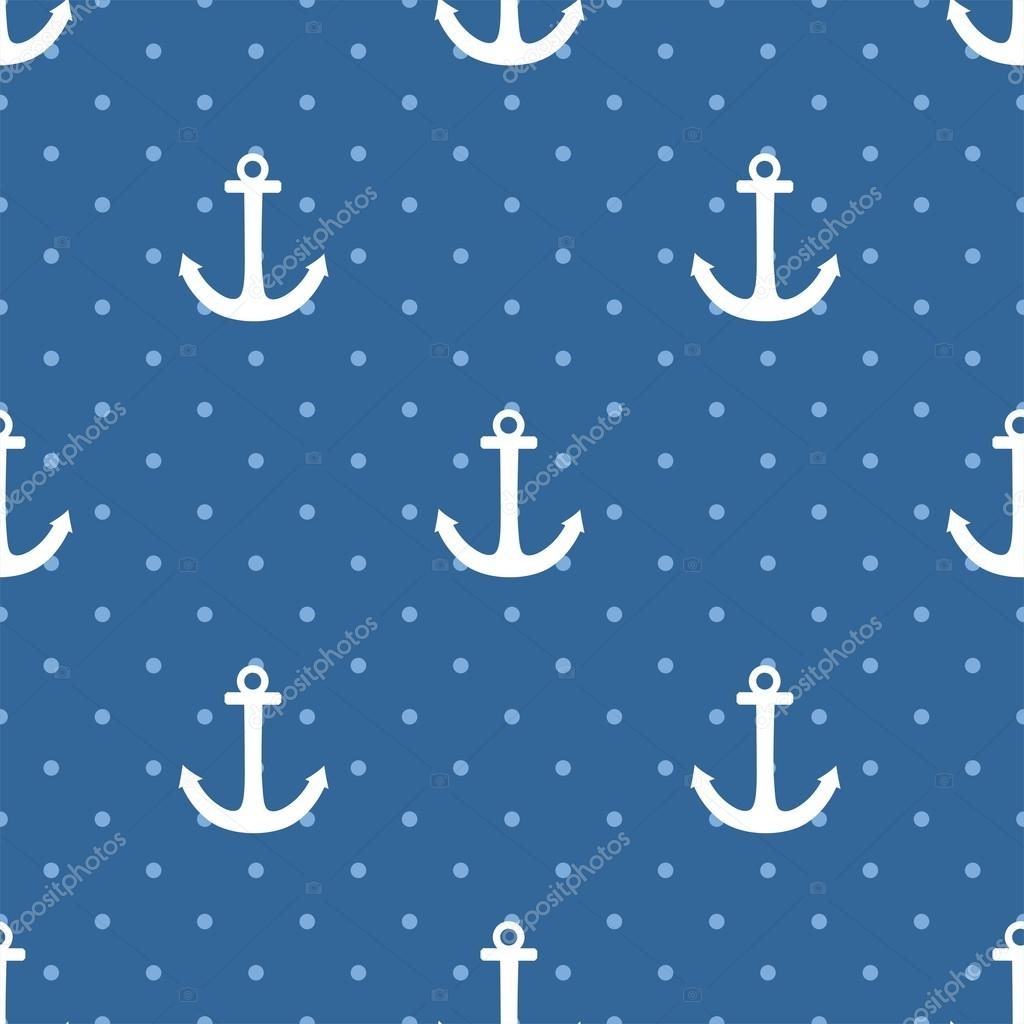 Tile sailor vector pattern with white anchor and polka dots on navy blue background