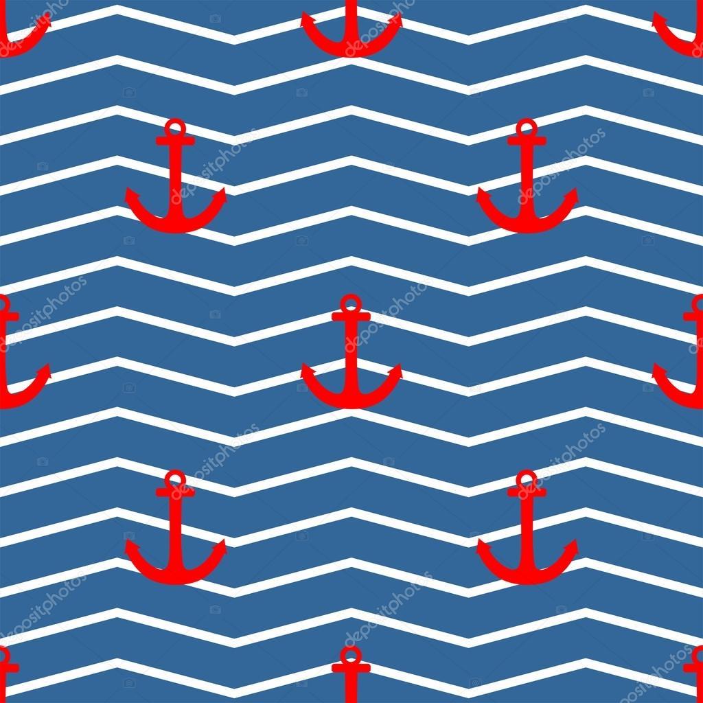 Azulejos patr n vector de marinero con ancla de rojo sobre - Papel de pared de rayas ...
