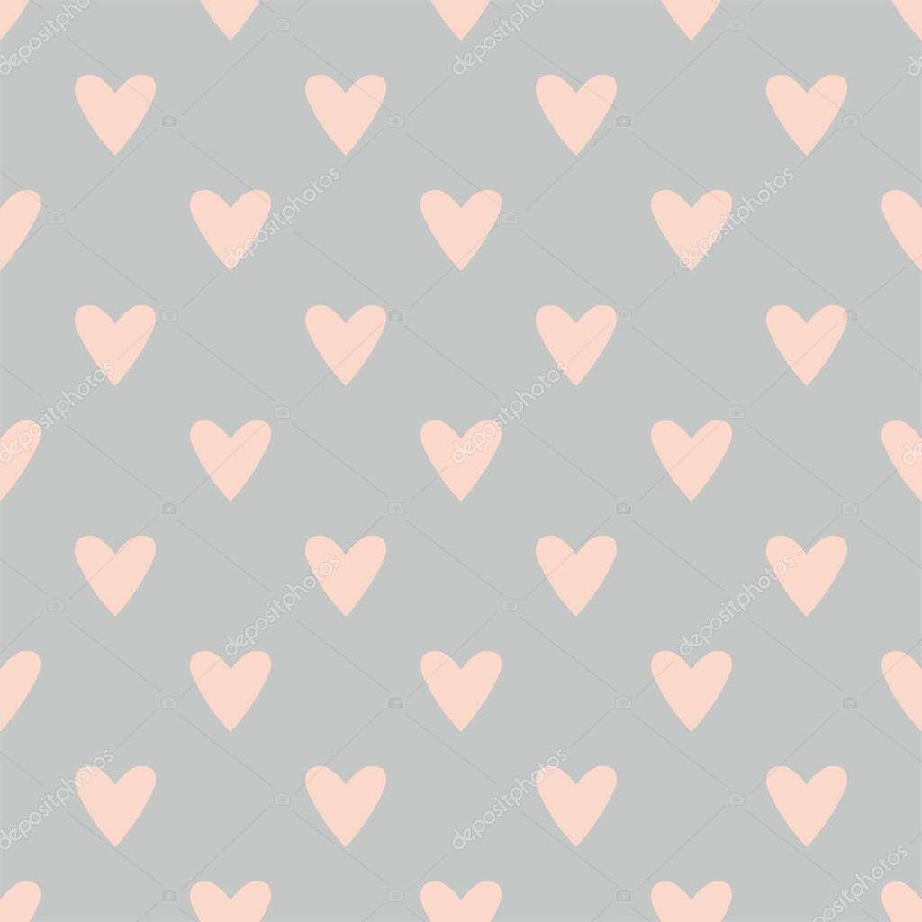 Gray And Pink Hearts: Tile Vector Pattern With Hand Drawn Pink Hearts On Grey