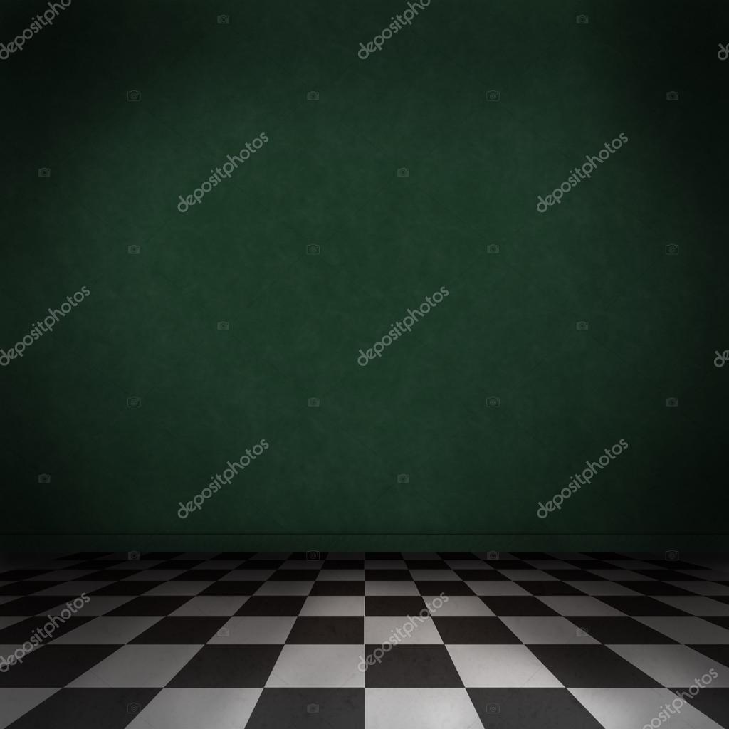 Chambre Verte Foncé Avec Checker Noir Et Blanc Sur Le Sol