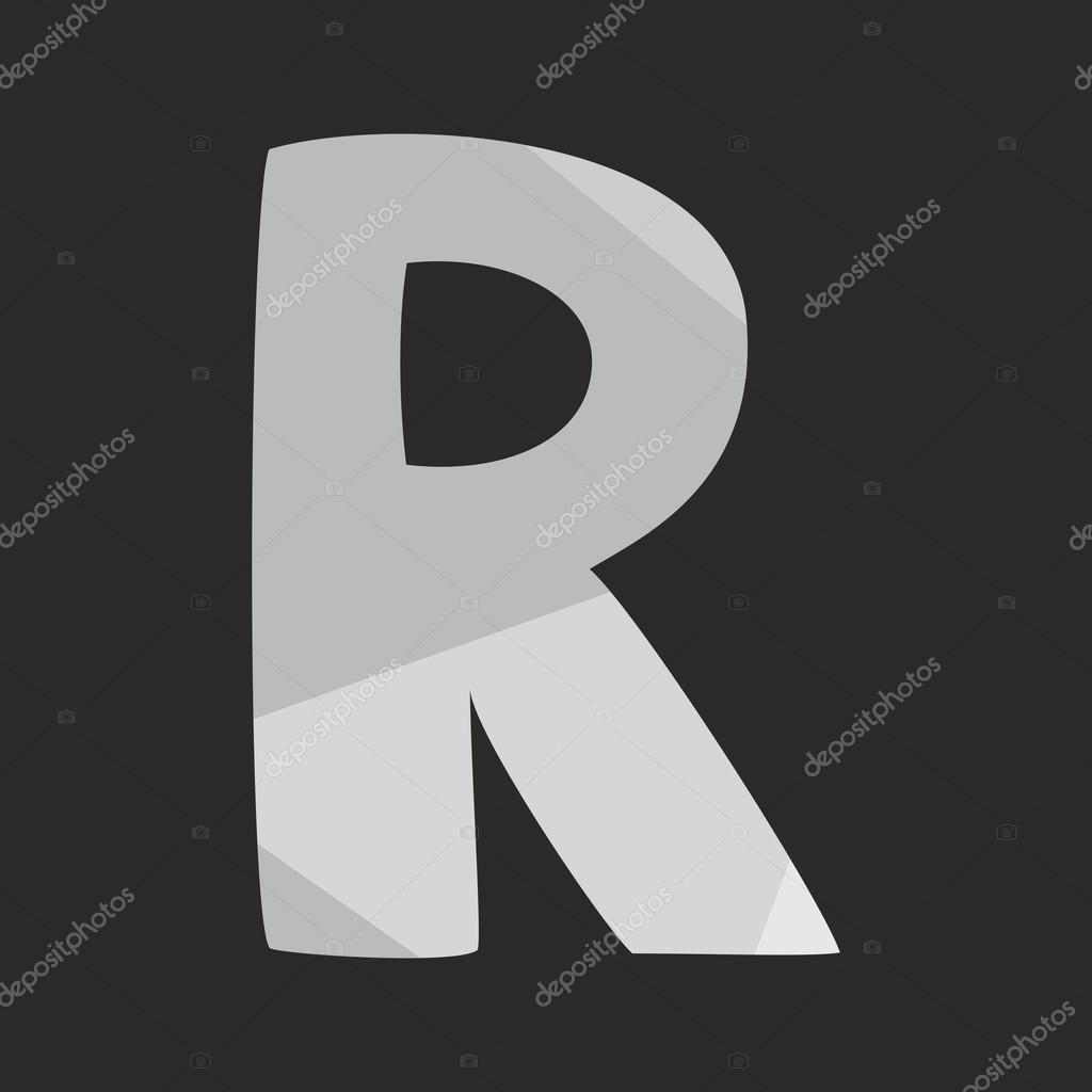 R vector alphabet letter isolated on black background