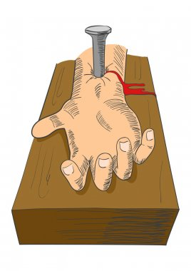 Illustration of hand nailed on cross