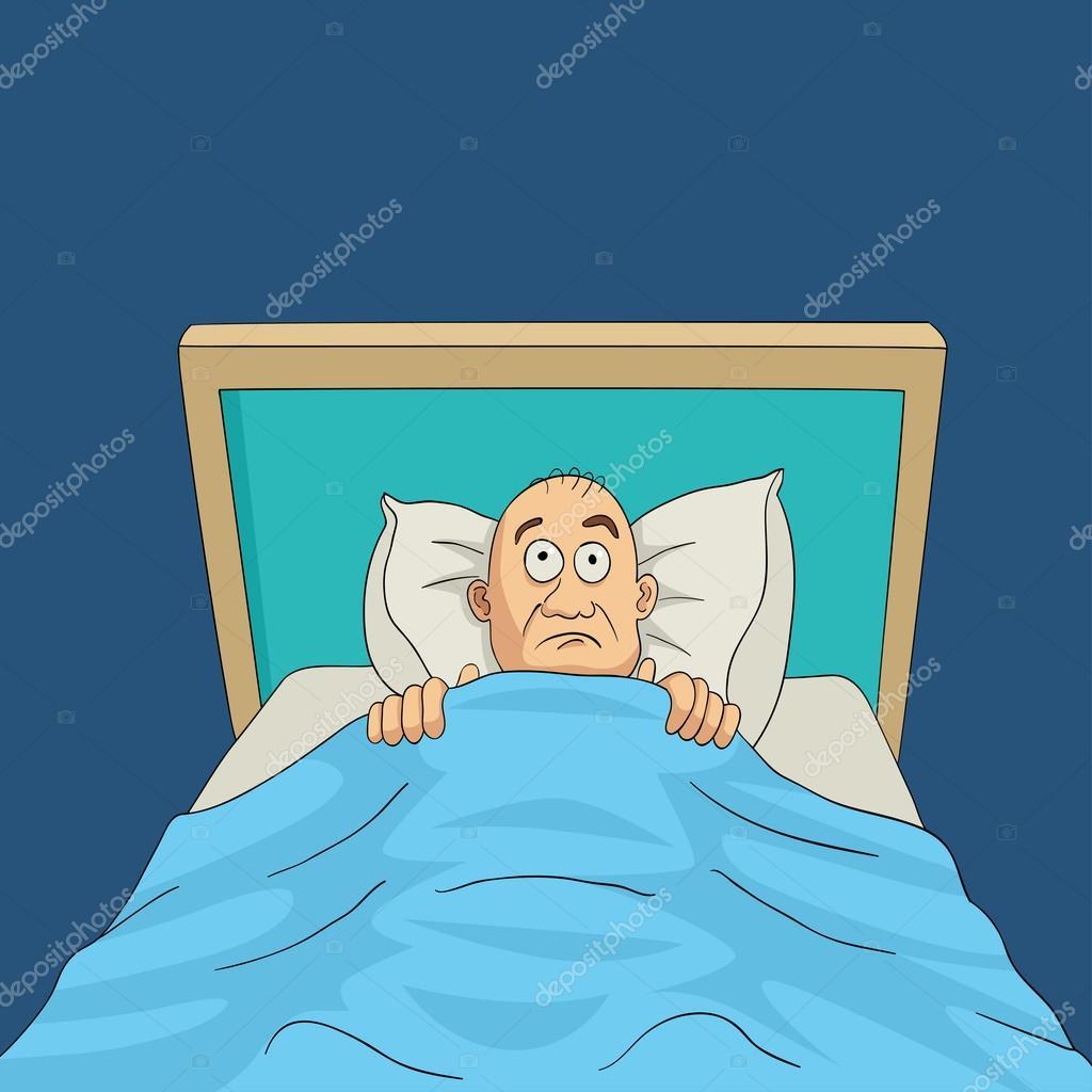 homme sur le lit avec les yeux grands ouverts dessin anim image vectorielle rudall30 100071770. Black Bedroom Furniture Sets. Home Design Ideas