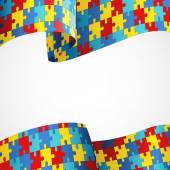 Fotografie Autism Awareness Colorful Puzzle Flag