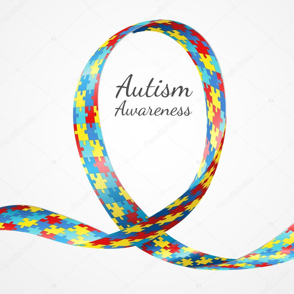 Autism Awareness Colorful Puzzle Ribbon Stock Vector Rudall30