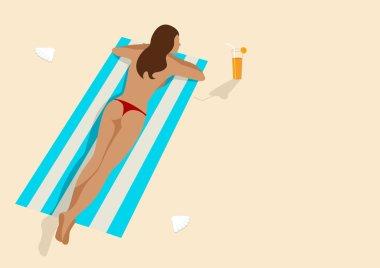 Graphic illustration of a woman sunbathing