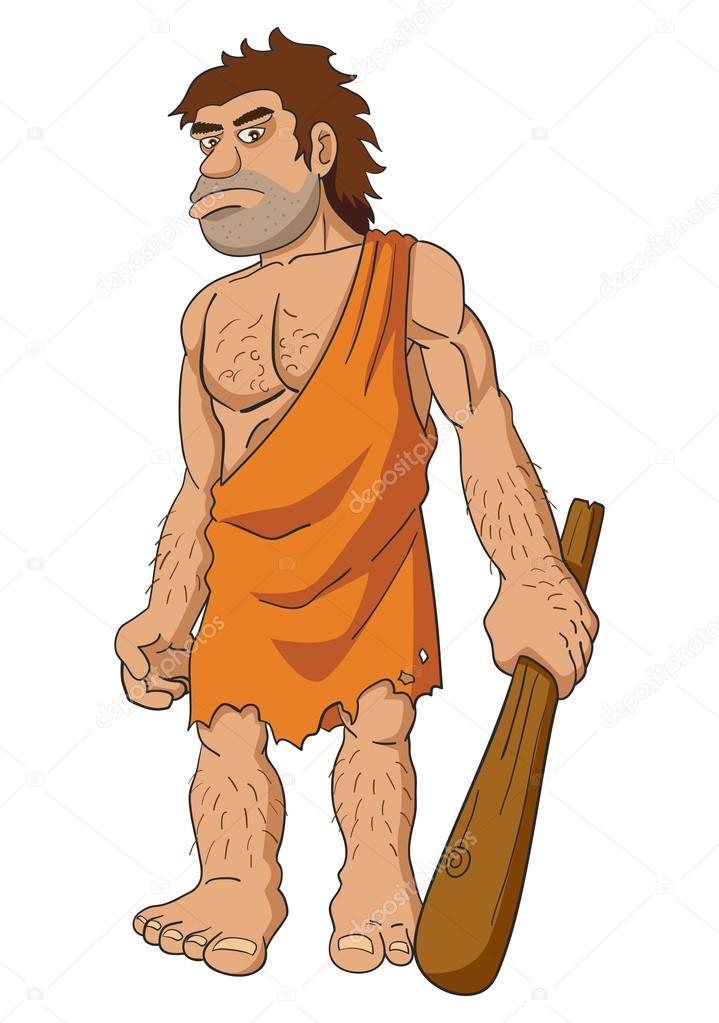 Uomo delle caverne che tiene un club u vettoriali stock rudall