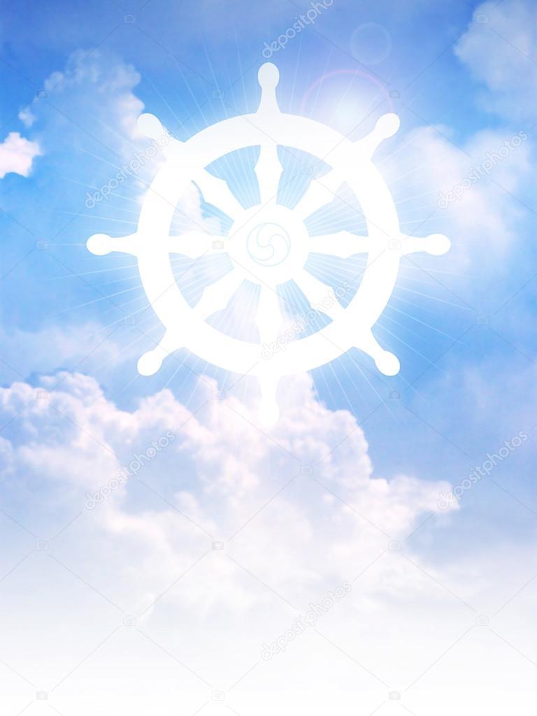 symbole de roue du bouddhisme dharma sur les nuages photographie rudall30 117580176. Black Bedroom Furniture Sets. Home Design Ideas