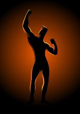 Silhouette illustration of a bodybuilder pose
