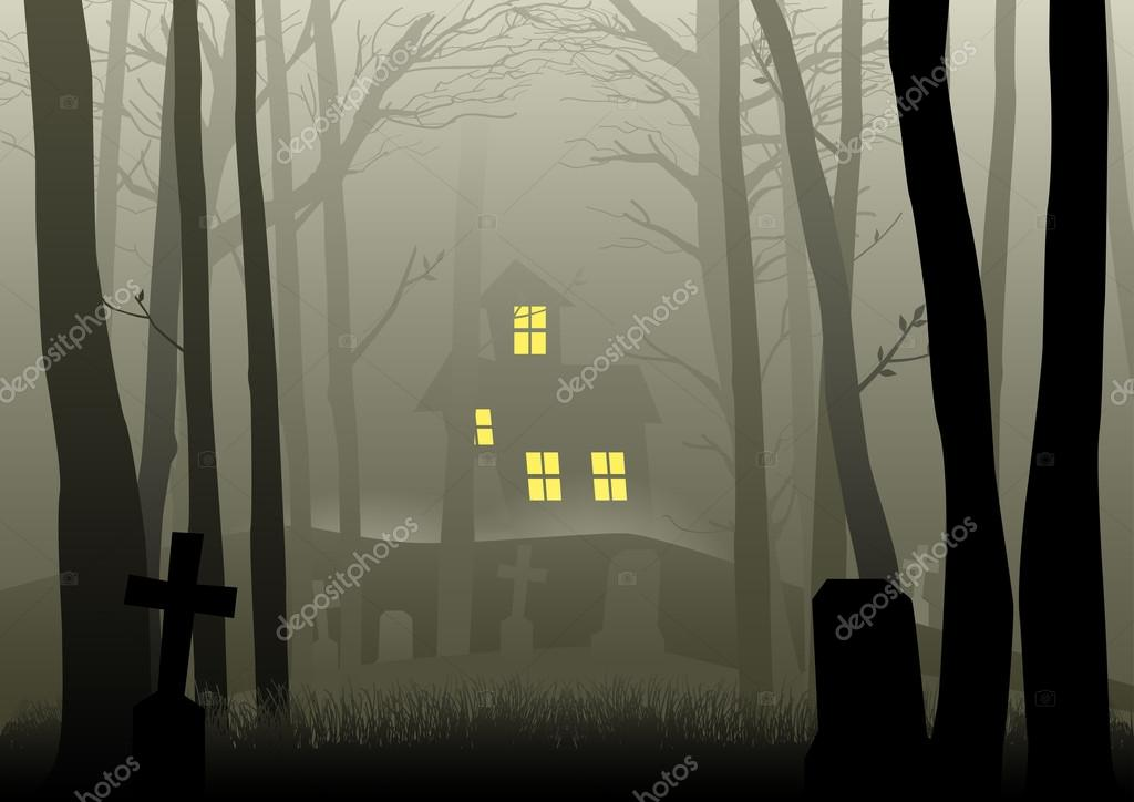 Sfondo casa nel bosco