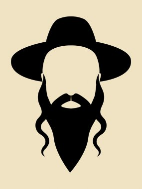 Simple graphic of a man with long beard wearing a hat stock vector