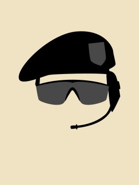 Simple graphic of a man with beret and goggle stock vector