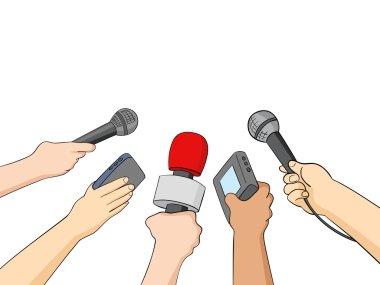 Cartoon Illustration of Journalists