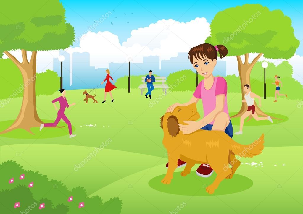 Menina Com Seu Cachorro No Parque Da Cidade