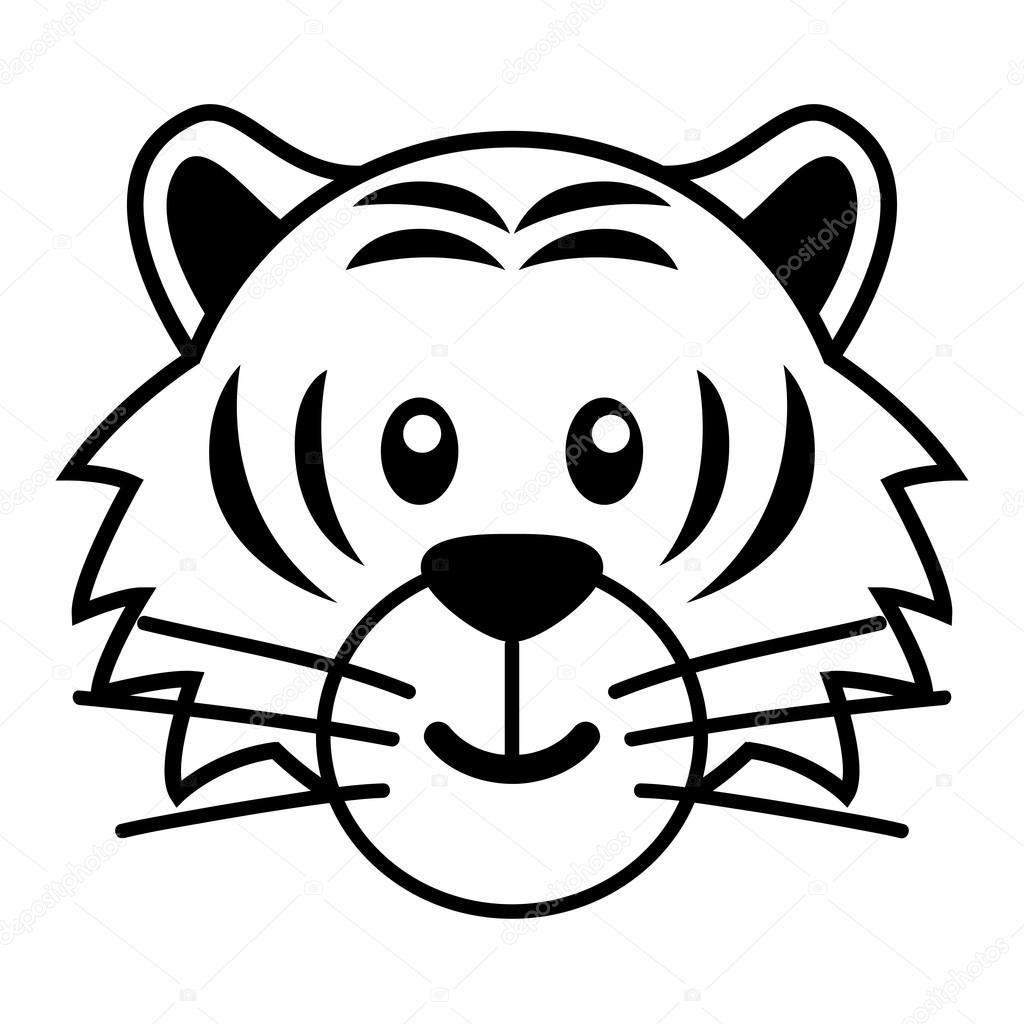 Tigre Caricatura Para Colorear Simples Dibujos Animados De Un