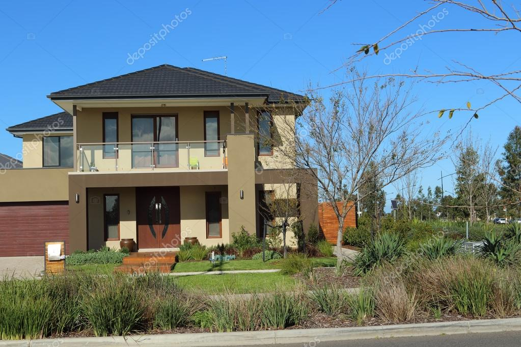 Buitenontwerp van het moderne huis in australië u redactionele