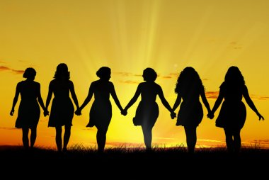 Silhouette of six young women, walking hand in hand stock vector