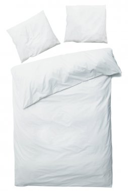 White blanket and pillows