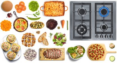 Food collection on white background with stove