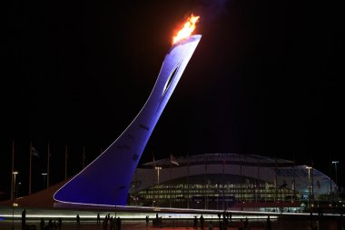 February 10, 2014 - Sochi, Russia, Olympic Park. Burning the Olympic flame