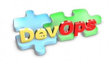 DevOps means development and operations. 3d rendering.