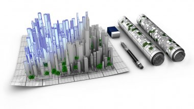 Concept of the architectural work about city creation.