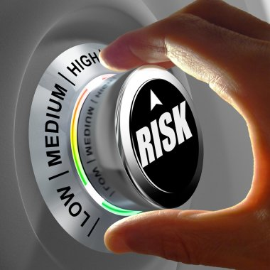 Concept of a button adjusting or minimizing potential risk