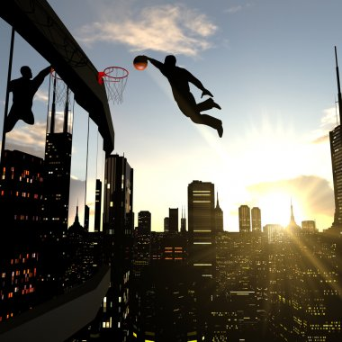 A businessman performing a slam dunk on the top of a skyscraper