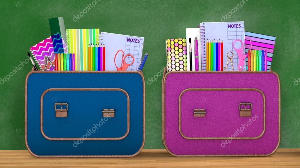 Retour à l école deux vintage sacs à dos remplis de fournitures