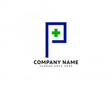 Initial Letter P Cross Plus Logo, Medical Health Care Logo Template Design icon